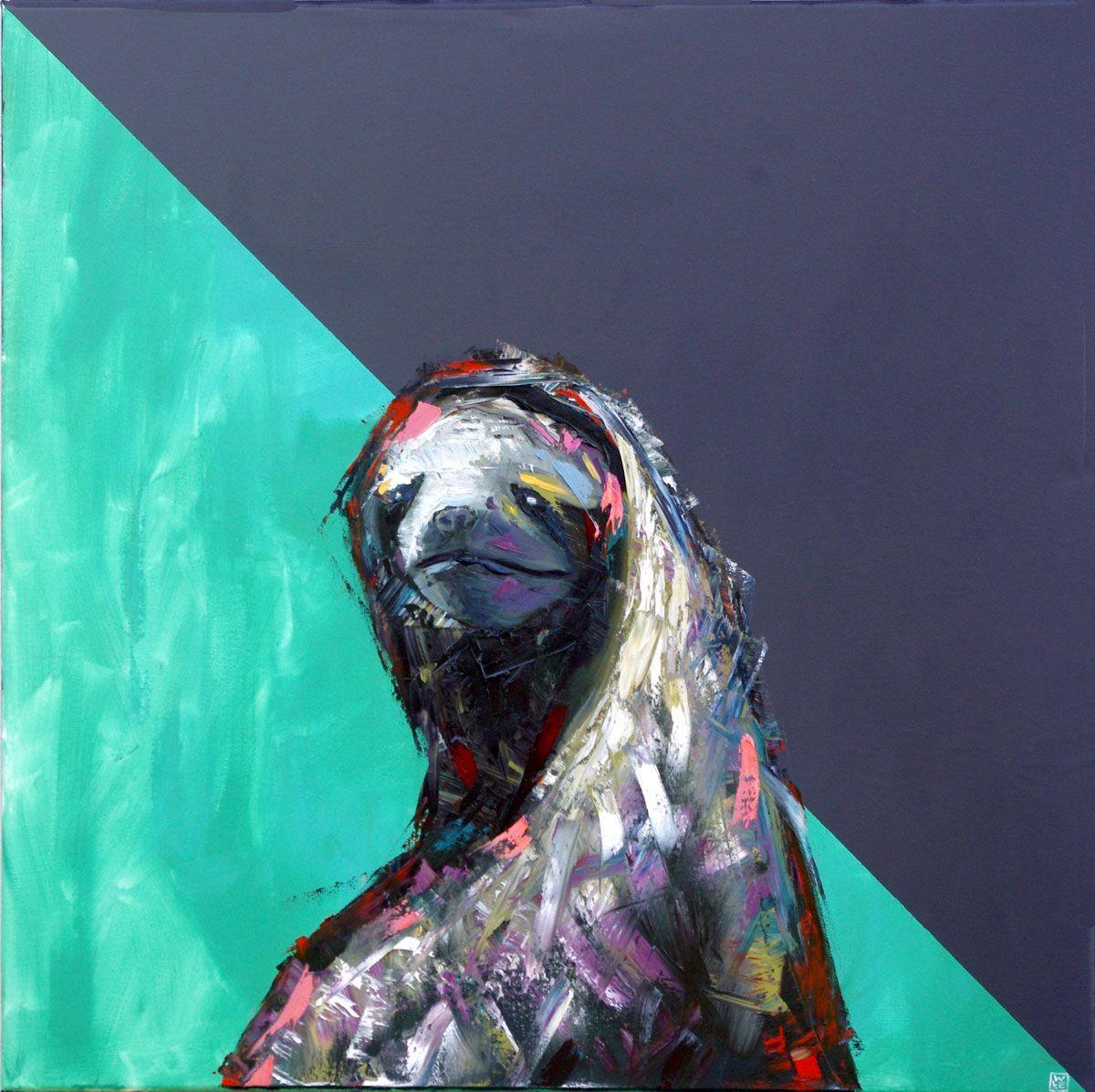 Slow and Steady animal art painting sloth Will Eskridge