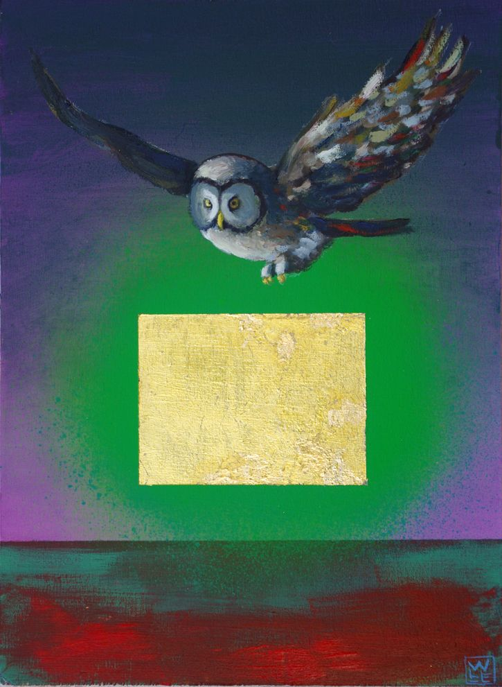 Owl Painting No Prey In Sight surreal animal art painting Will Eskridge