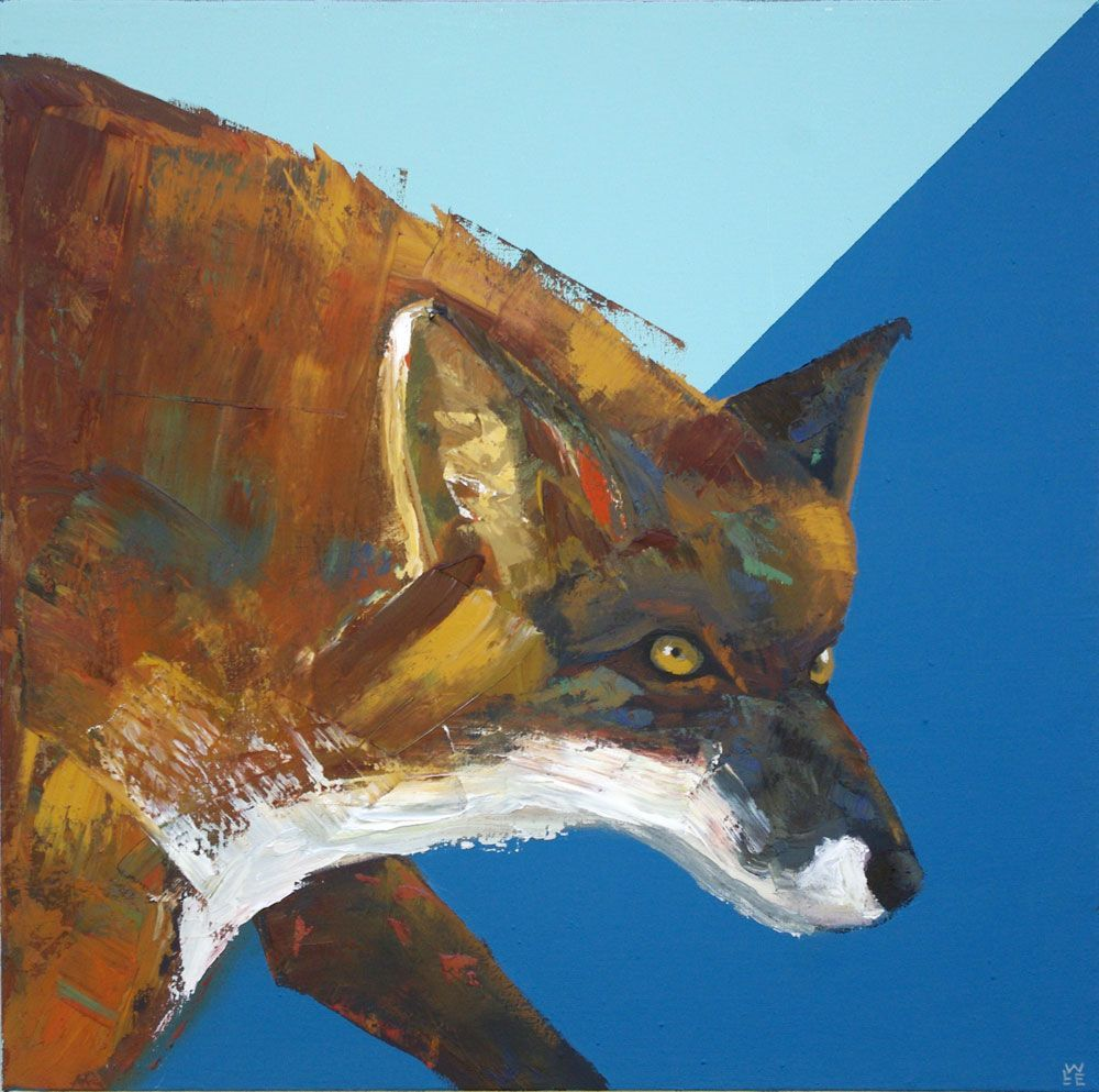 Sun and Fire red fox painting animal artist art wildlife Will Eskridge