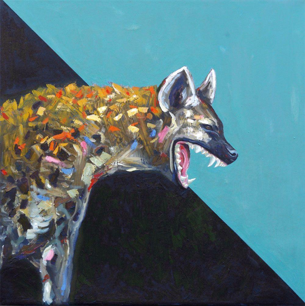 Into The Night Hyena Painting Animal Art Artist Wildlife Will Eskridge