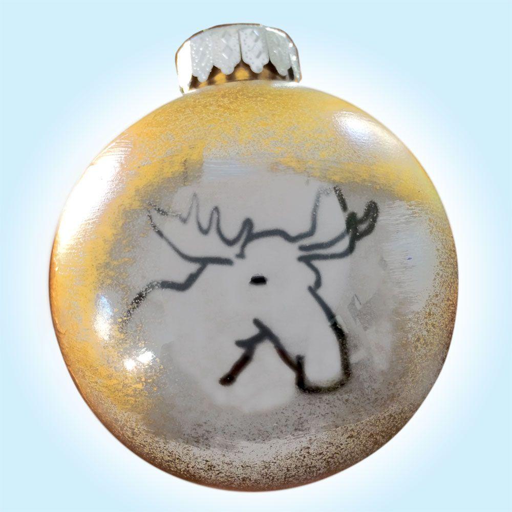 White Moose Christmas Tree Ornament animal artist art handmade craft gift Will Eskridge