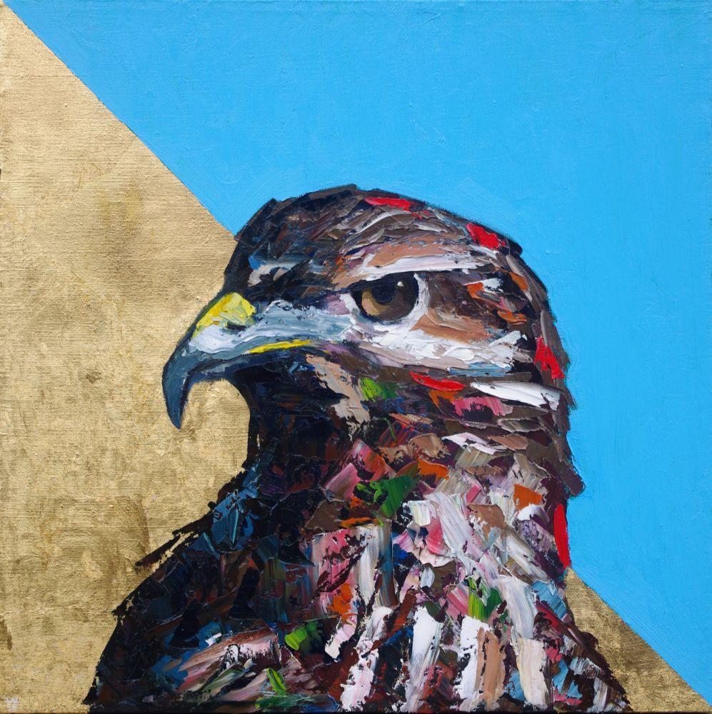 The Falcon Brought Us Gold animal artist art wildlife painting falcon Will Eskridge-web