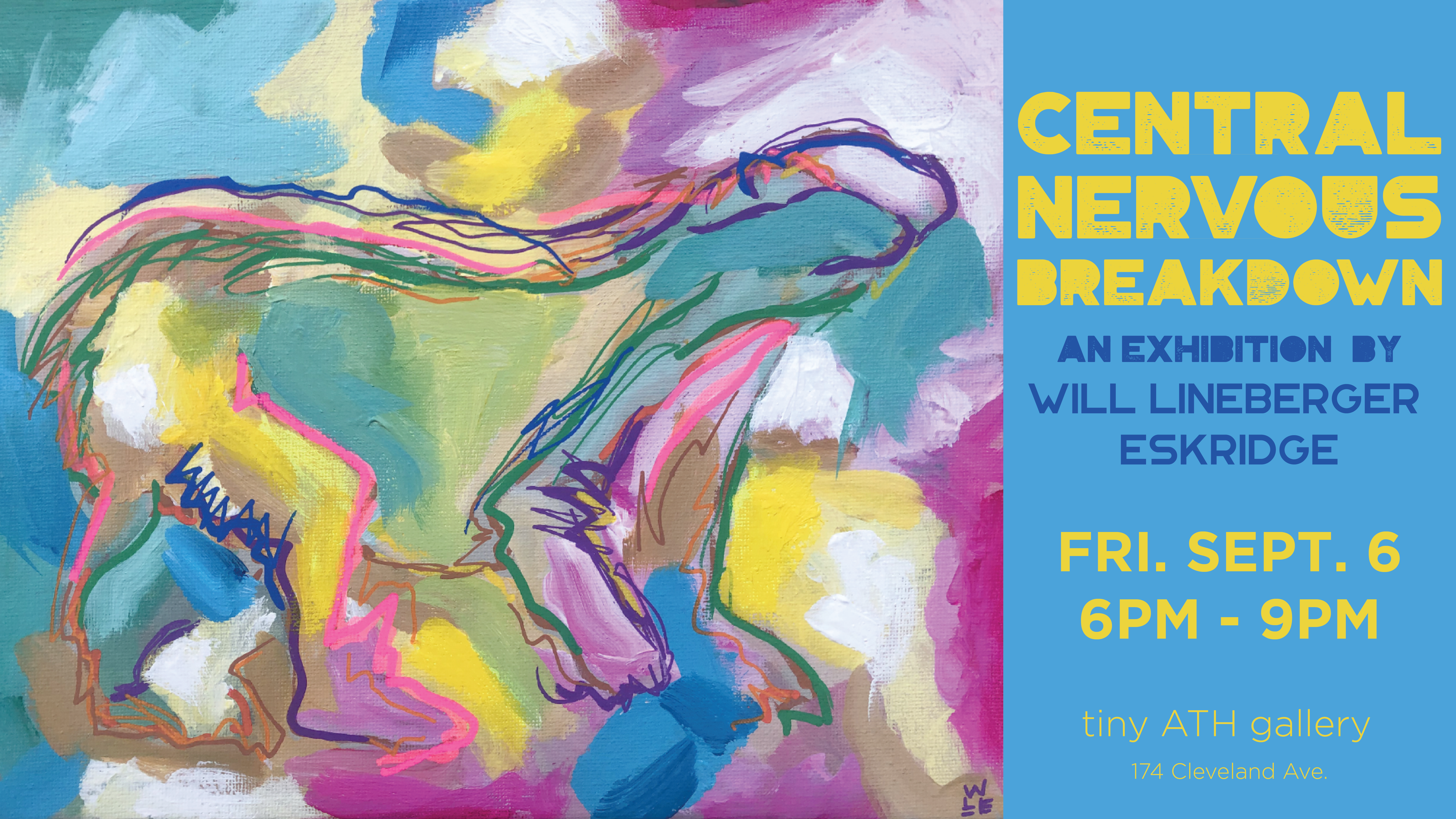 Central Nervous Breakdown Abstract Expressionist Animal Art Bright Colors Painting Will Eskridge