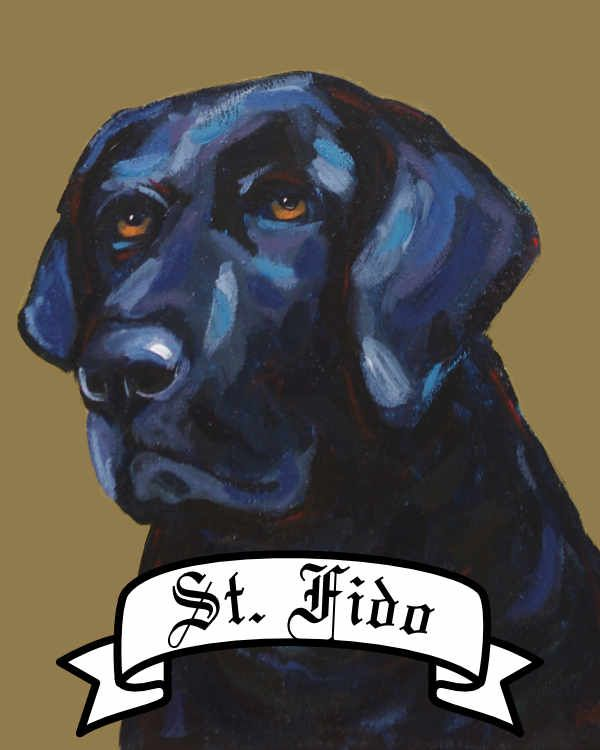 Personalized Saint Dog archival print pet portrait dog breed black lab Will Eskridge