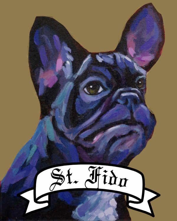 Personalized Saint Dog archival print pet portrait dog breed french bulldog frenchie Will Eskridge