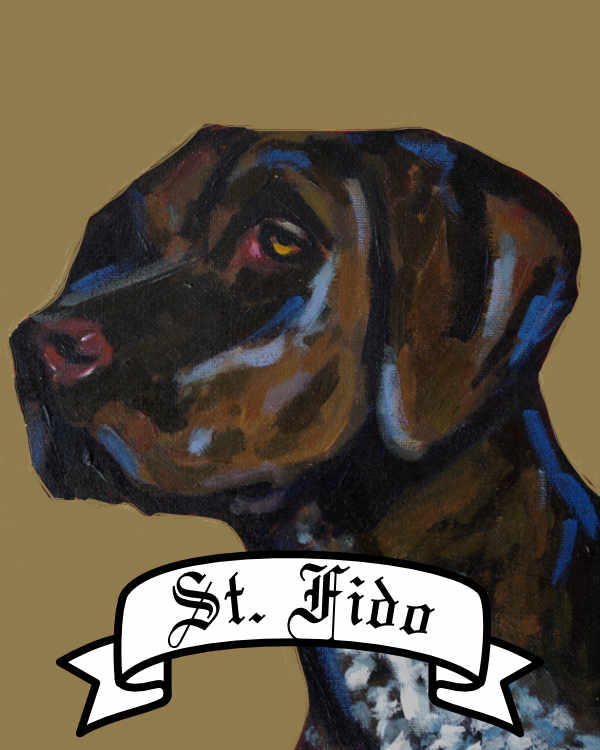 Personalized Saint Dog archival print pet portrait dog breed german short haired pointer gap Will Eskridge