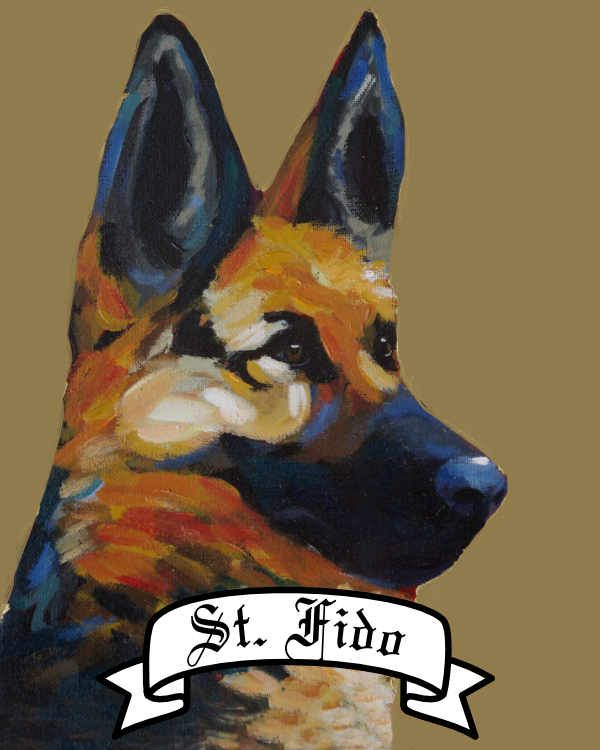 Personalized Saint Dog archival print pet portrait dog breed german shepherd Will Eskridge