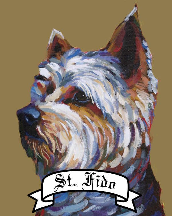 Personalized Saint Dog archival print pet portrait dog breed yorkshire terrier yorker Will Eskridge