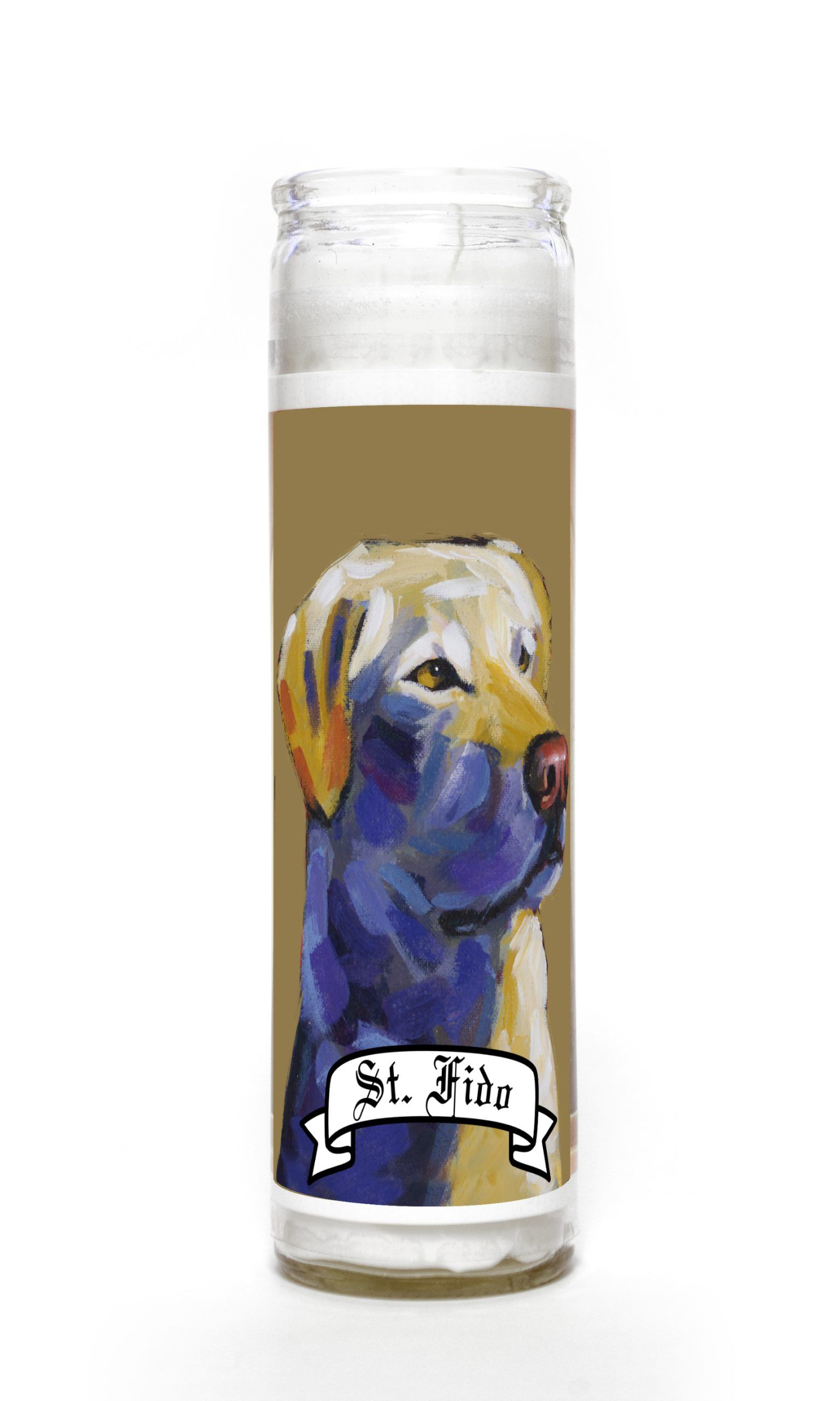Yellow Lab contemporary pet portrait animal painting personalized spirit prayer novena Candle
