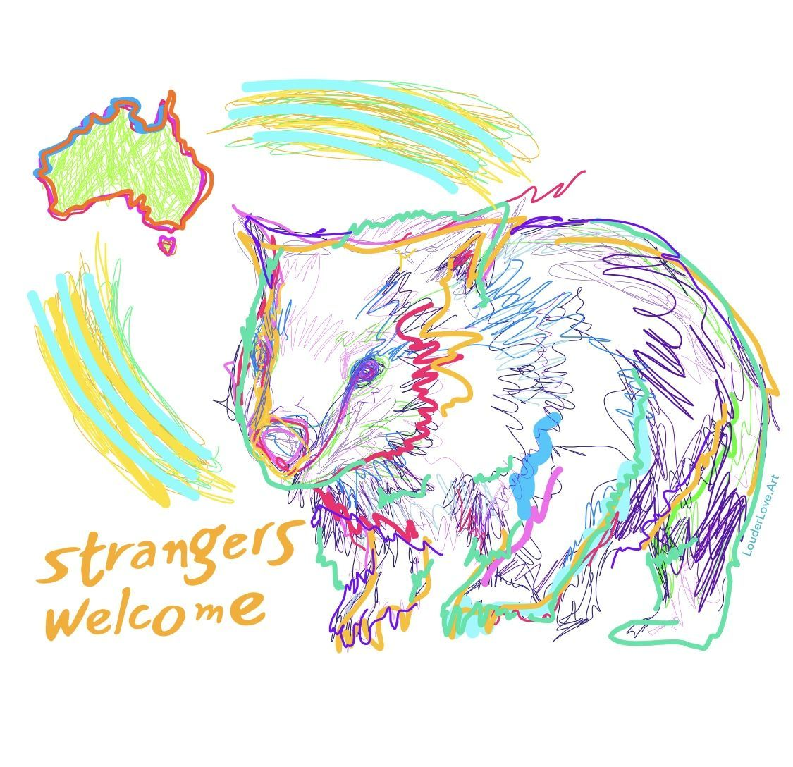 Strangers Welcome Wombat Animal Print