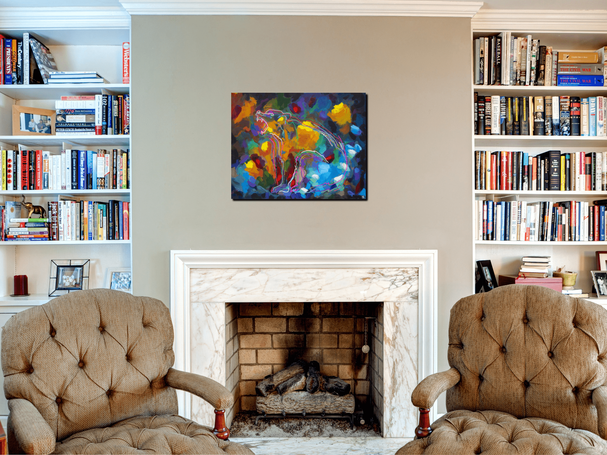 Storytime Around The Campfire bear abstract animal artist art painting Will Eskridge acrylic bright colors in situ