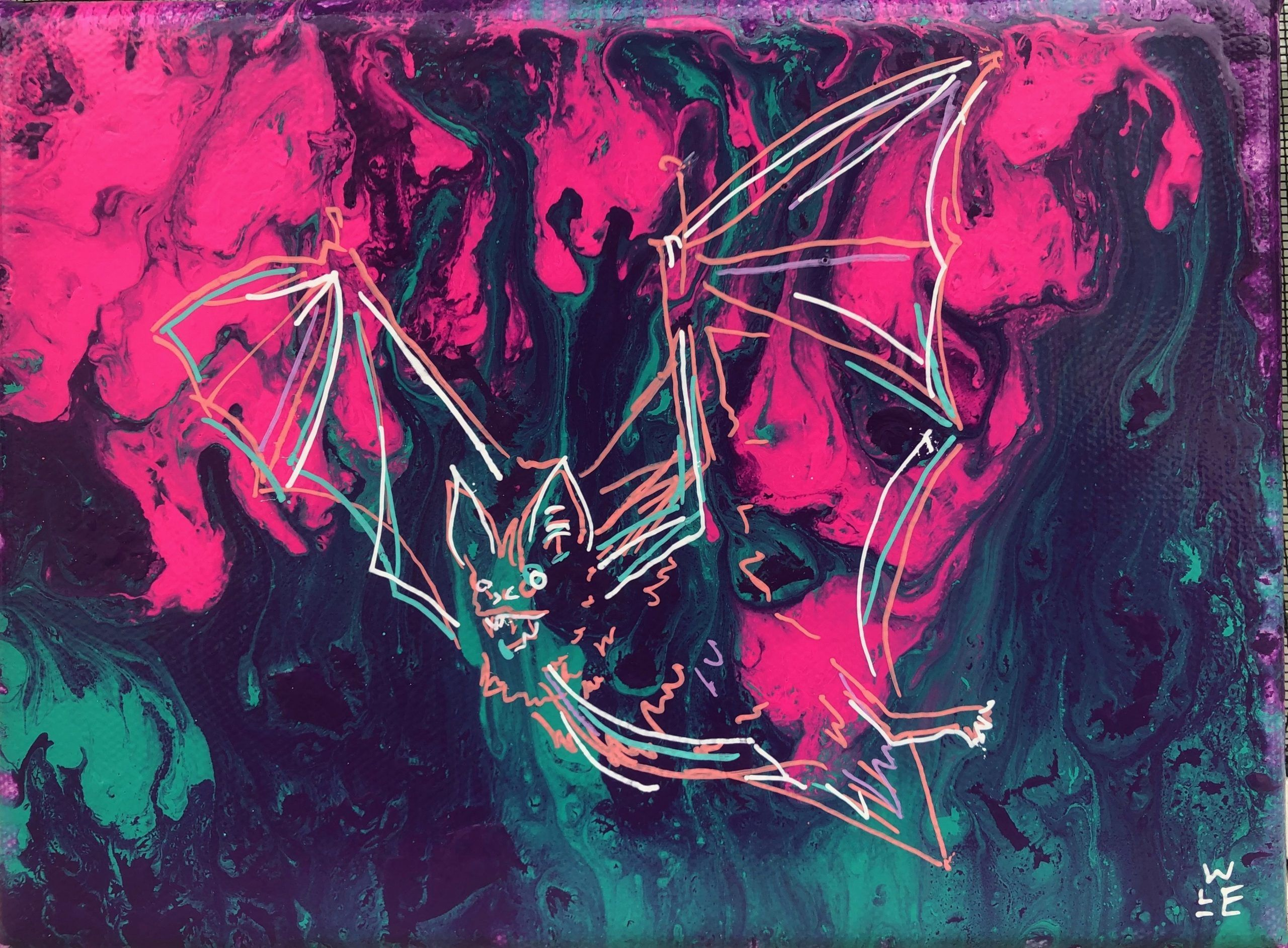 Kiss Before Midnight 1 Bat Animal Abstract Contemporary Artist Art Painting Will Eskridge
