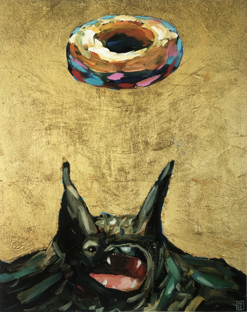 Simply Glazed Bat Donut Fun Animal Wildlife Contemporary Portrait Painting Athens Georgia Will Eskridge Web
