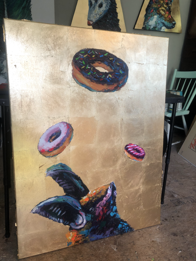 Confectionery Outcasts Bats Donuts Original Painting Gold Leaf Animal Artist Art Will Eskridge Athens Georgia